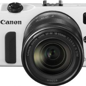 CANON EOS-M 18-55mm LENSLİ AYNASIZ + 90EX FLASH FOTOĞRAF MAKİNESİ – BEYAZ