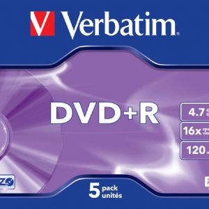 VERBATIM 43497  DVD+R AZO  MATG. 4.7GB.16X 5 LI JEWEL CASE